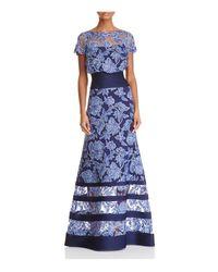 Tadashi Shoji   Blue Blouson Illusion Lace Gown   Lyst