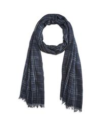 John Varvatos - Blue Abstract Plaid Scarf - Lyst