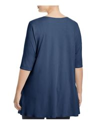 Eileen Fisher | Blue Scoop Neck Elbow-sleeve Tunic | Lyst