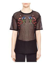 Sandro | Black Boa Embroidered Mesh Top | Lyst
