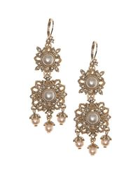 Marchesa - Metallic Ornate Chandelier Drop Earrings - Lyst