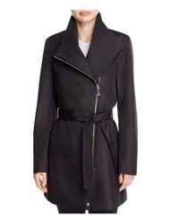 Calvin Klein | Black Asymmetric Front Zip Trench Coat | Lyst