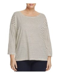 Eileen Fisher | Multicolor Bateau Neck Boxy Top | Lyst
