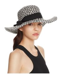 Bettina - Black Two-tone Braided Floppy Sun Hat With Ribbon Trim - Lyst