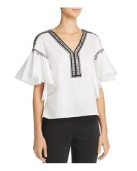 Natori - White Ruffle Sleeve Top - Lyst