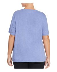 Eileen Fisher - Blue Organic Cotton Heathered Tee - Lyst