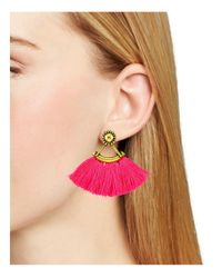 Aqua - Pink Layla Fringe Drop Earrings - Lyst