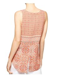Sanctuary - Pink Craft Printed Button Front Sleeveless Shell - Lyst