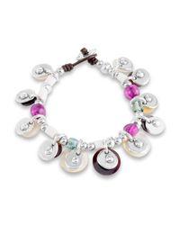 Uno De 50 - Metallic Esmeralda Beaded Charm Bracelet - Lyst