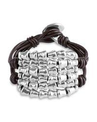 Uno De 50 | Metallic Tábano Beaded Leather Bracelet | Lyst