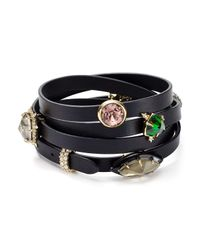 Alexis Bittar | Black Gemstone Leather Wrap Bracelet | Lyst