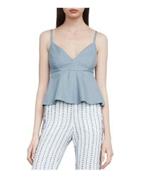 BCBGMAXAZRIA | Blue Meaghan Cropped Peplum Top | Lyst