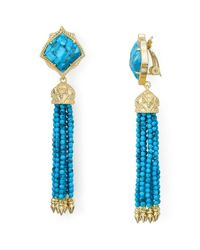 Kendra Scott - Blue Misha 14ct Gold-plated Bronze Veined Turquoise Magnesite Earrings - Lyst