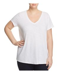 Eileen Fisher | White V-neck Short Sleeve Tee | Lyst