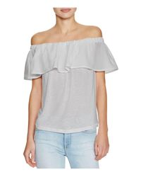 French Connection | Gray Polly Plains Off-the-shoulder Top | Lyst