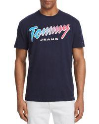 Tommy Hilfiger - Black Summer Neon Script Logo Tee for Men - Lyst