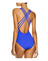 La Blanca | Blue Multistrap Cross Back Maillot One Piece Swimsuit | Lyst