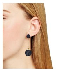 Aqua - Black Double Drop Earrings - Lyst