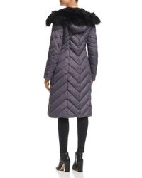 Laundry by Shelli Segal - Multicolor Faux Fur Trim Maxi Puffer Coat - Lyst
