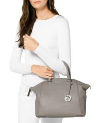 MICHAEL Michael Kors - Gray Riley Large Leather Satchel - Lyst