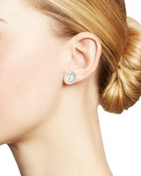 Tara Pearls - 18k White Gold Cultured South Sea Pearl And Diamond Wrapped Stud Earrings - Lyst