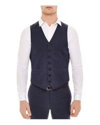 Sandro - Blue Notch Birdseye Vest for Men - Lyst