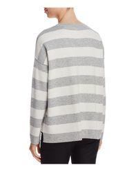 Eileen Fisher - Gray Reversible Stripe Top - Lyst
