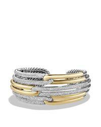 David Yurman - Metallic Labyrinth Triple-loop Cuff Bracelet With Diamonds And Gold - Lyst