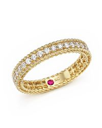 Roberto Coin - Metallic 18k Yellow Gold Symphony Braided Ring With Diamonds - Lyst