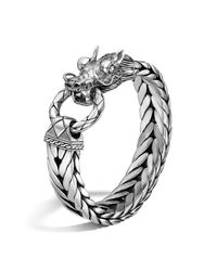 John Hardy | Metallic Men's Naga Silver Dragon Head Bracelet On Fishtail Chain for Men | Lyst