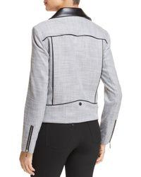 T Tahari - Black Quimby Mixed-media Moto Jacket - Lyst