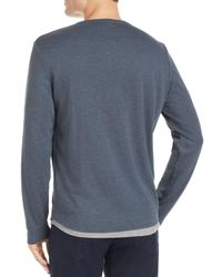 Theory - Blue Double Layer Henley for Men - Lyst
