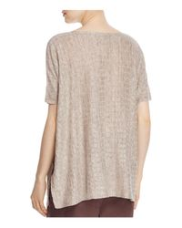 Eileen Fisher | Natural Bateau Neck Grid Sweater | Lyst