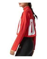 Adidas Originals - Red Cropped High-neck Sweatshirt - Lyst