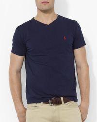 Polo Ralph Lauren Blue Cotton V Neck Tee for men