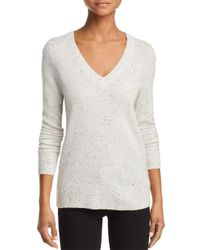 Aqua - Gray Cashmere V-neck Cashmere Sweater - Lyst