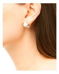 John Hardy | Metallic Dot 18k Yellow Gold Diamond Pavé Earrings With Cultured Freshwater Pearls | Lyst