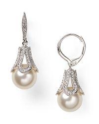 Nadri - White Pavé Detail Drop Earrings - Lyst