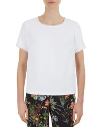 Gerard Darel - White Carmen Picot-trimmed Blouse - Lyst
