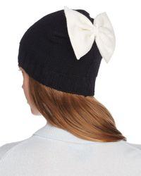 Helene Berman - Black Knit Bow Beanie - Lyst