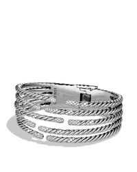 David Yurman - Metallic Willow Five-row Bracelet With Diamonds - Lyst