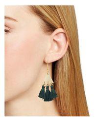 Rebecca Minkoff - Green Tri-tassel Chandelier Earrings - Lyst