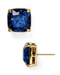 Kate Spade - Blue Small Square Glitter Stud Earrings - Lyst