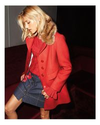 Kate Spade | Red Faux Fur Trim Coat | Lyst