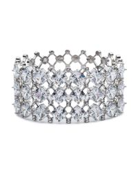 Carolee - Metallic Silver-tone Crystal Hinged Cuff Bracelet - Lyst