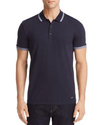 BOSS - Blue Orange Paiy Tipped Stretch Pique Polo Shirt for Men - Lyst