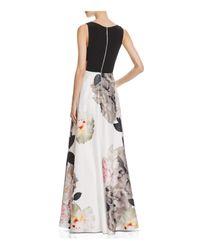 Aqua - Black Floral-skirt Gown - Lyst