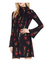Vince Camuto | Black Floral Print Bell Sleeve Dress | Lyst