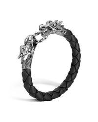 "John Hardy | ""naga"" Black Woven Leather Dragon Bracelet | Lyst"