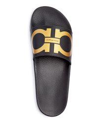 Ferragamo - Black Men's Groove Slide Sandals for Men - Lyst